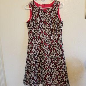 Anne Klein Floral Sleeveless Overlay A-Line Dress
